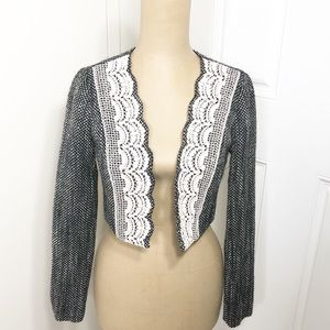 Anthro | Tabitha Tweed Lace Cropped Open Jacket